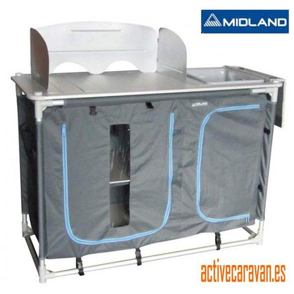 Mueble cocina aluminio con fregadero etna midland caravana for Mueble cocina camping