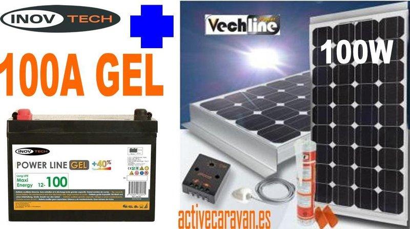 Kit Placa Solar Monocristalino 100w Kit Bateria Gel 100a A
