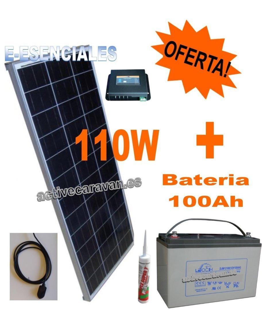 Pack Placa Solar 110w E Essential Y Acc Bateria Agm 100ah 1