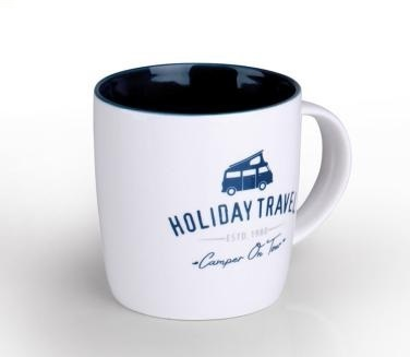 Taza Blanca Holiday Travel de 340ml.