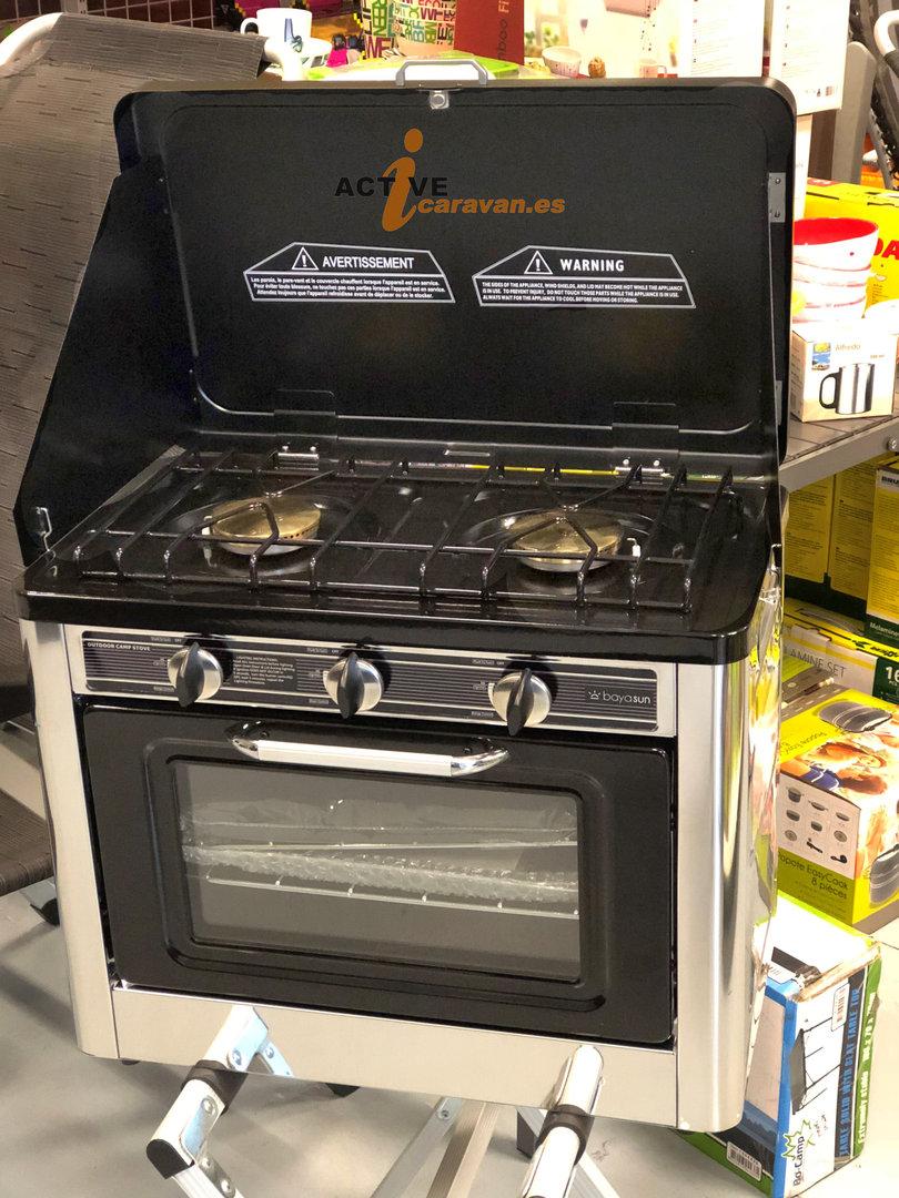 Hornillo con horno portatil de gas midlan bayasun camping for Cocina camping gas carrefour