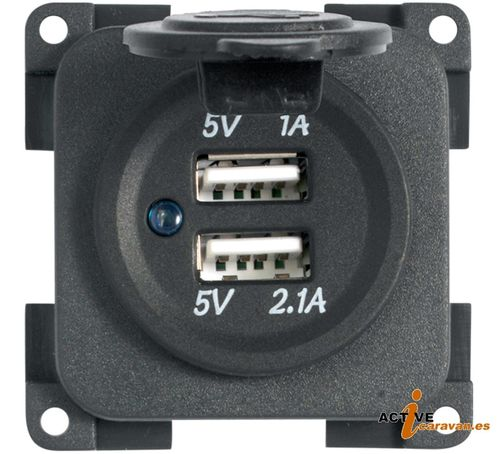Enchufe de carga doble USB 5V / 1A + 2,1A